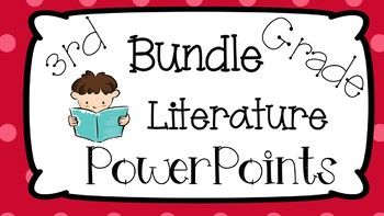 Are you looking for a way to introduce 3rd Grade literature Common Core Standards? Try this bundle today! This bundle contains 13 PowerPoint Picture Presentations that introduce 3rd Grade Common Core Standards 3.1 - 3.9. Each PowerPoint comes with a worksheet that the students can use to engage and write on in the skill portion of the lesson.