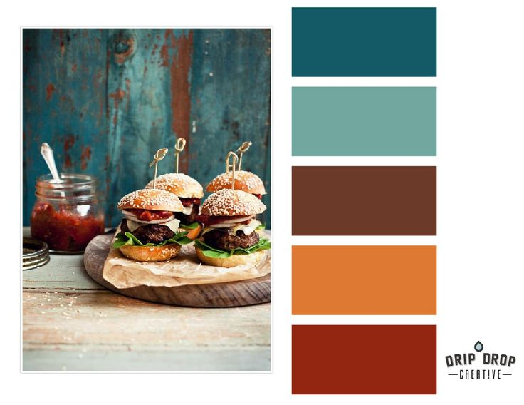 Color, rust, teal. Never mind the food, I like the color ...