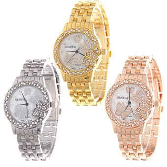 Buy Geneva Diamond Butterfly Womens Rose Gold Stainless Steel Strap Watch C-SY-19-Gold+Rose Gold+Silver online at Lazada. Discount prices and promotional sale on all. Free Shipping.