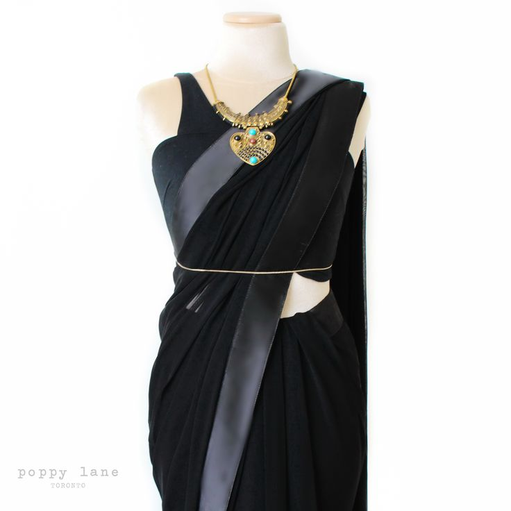 Simple Chic Black Georgette Sari.  Shop now at poppylane.ca