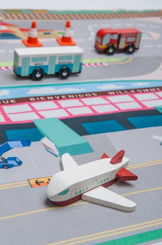 LE TOY VAN Play mat First Airport. Can be added to the other 3 play mats in the range. #toys2learn #letoyvan #play #mat #preschool #toddler #australia #road #runway #plane #car