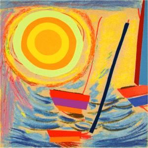 Sun and Boats by Sir Terry Frost. Wonderful contemporary painting inspired by Cornwall