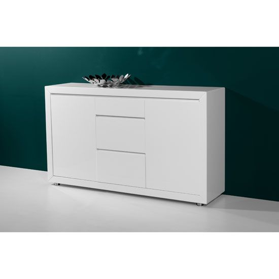 Features O Fino Retro Style 2 Door Sideboard In High Gloss White