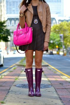 Burgundy purple Hunter boots