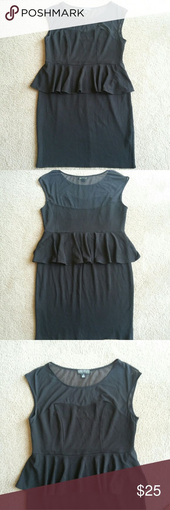 Forever 21 plus black peplum dress Forever 21 + black peplum dress Mesh top with a sweetheart neck All over stretchy material  Hits at the knee  Size: 2x Only worn once  *hemline was taken down so slightly frayed pictured Forever 21 Dresses
