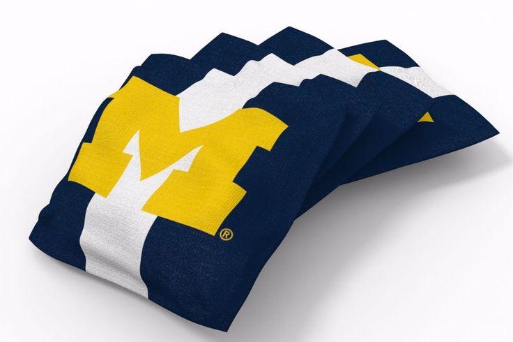 Michigan Wolverines Stripe Bean Bags-4pk (A)