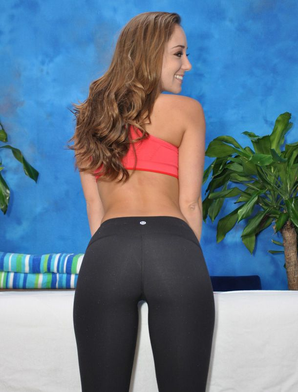Think, that Hot girl in bright black yoga pants have faced