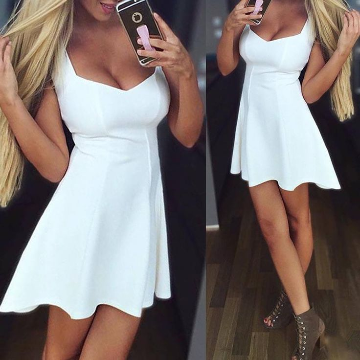 Solid Color Sweet White Shift Dress