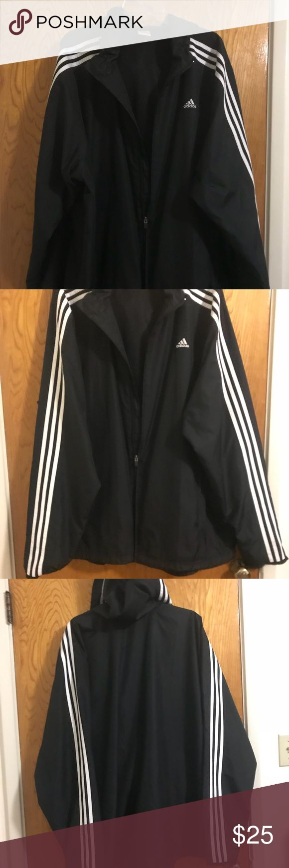 Adidas Jacket Men's 2XL zip up with a hoodie. The jacket was hardly worn so it's in EUC. Only flaw is that the zipper gets stuck.  #2XL #adidas adidas Jackets & Coats Windbreakers