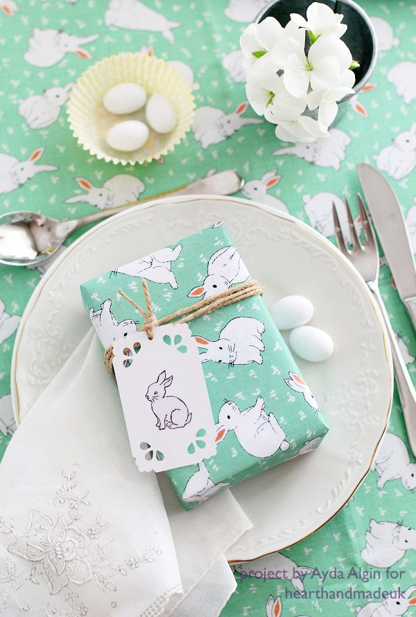 simple easter gift packaging and image transfer gift tag
