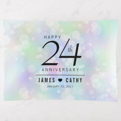 Elegant 24th Opal Wedding Anniversary Celebration Trinket Trays - elegant gifts gift ideas custom presents