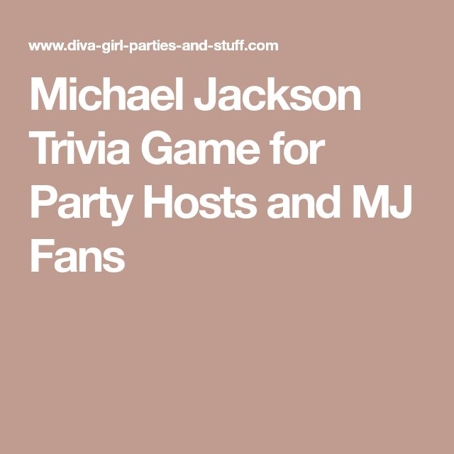 Michael Jackson Trivia Game for Party Hosts and MJ Fans