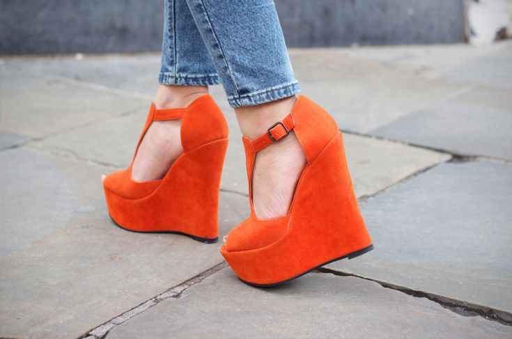 These are HOT!!!: Orange Crushes, Casual Shoes, Orange Wedges, Burnt Orange, Orange Shoes, Pink Heels, Summer Colors, Bold Colors, Bright Colors