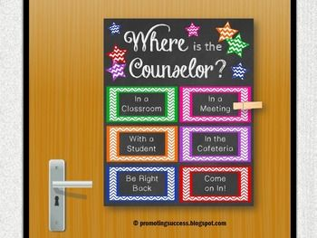 School Counseling: This printable poster/sign would be great for a school counselor's office door. It features chalkboard background chevron and stars: Where is the Counselor?