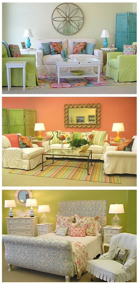 Style Key West. Do I play it safe and use a white backdrop for walls and add pop with the upholstery...or daring colorful walls with simpler pieces. There won't be much wall to paint because they will be mostly glass.