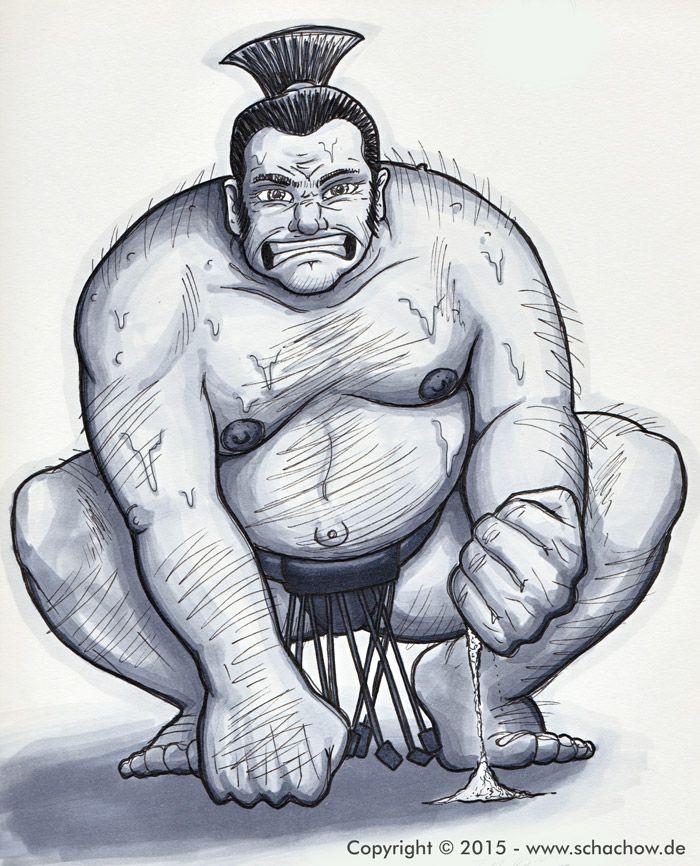 Zeichnung von einem Sumo-Ringer