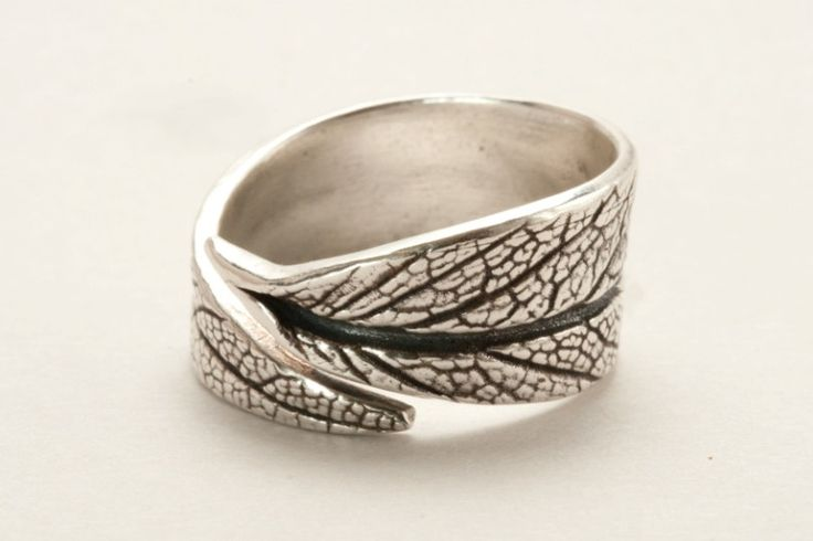Silver Metal Clay Adjustable Ring with Textured Sage Leaf Pattern. $57.00, via Etsy.