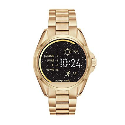 Michael Kors MKT5001 Access Touch Screen Gold Bradshaw Smartwatch. Yellow gold-tone smart watch compatible with Android and iPhone features customizable watch face and changeable straps Display notifications for texts, calls, emails. Tracks steps, distance, and calories. Powered by Android Wear Touchscreen functionality, wireless syncing. Android OS 4.3 or higher, iOS 8.2/iPhone® 5 and above.