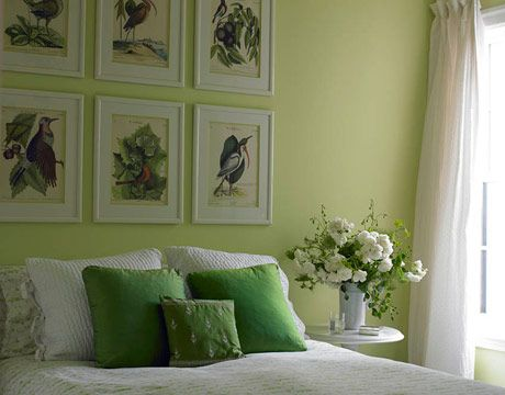 This bedroom by designer Stephen Shubel is the very essence of spring: birds, flowers, and even Sherwin-Williams's Springtime paint on the walls. Bedding and throw pillow fabric by Pine Cone Hill.