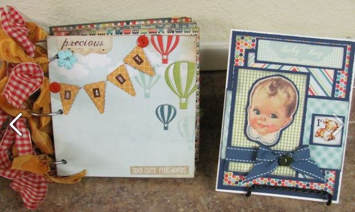 Vintage Look Handmade Album & Card for Baby Shower gift. Papers Skills By: Laura Adcock https://www.facebook.com/SassyChicCottage