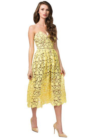 Ажурное платье-миди на тонких бретелях SISTARESS / 2000000098357