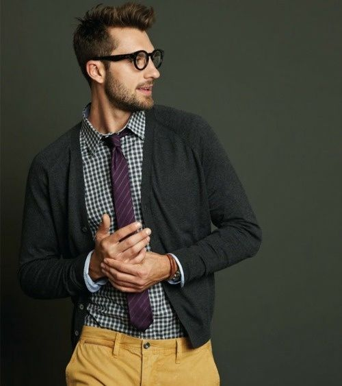 My red head would look dapper in this.: Cardigans, Mustard Pants, Men Clothing, Menfashion, Color, Yellow Pants, Men Style, Ties, Men Fashion