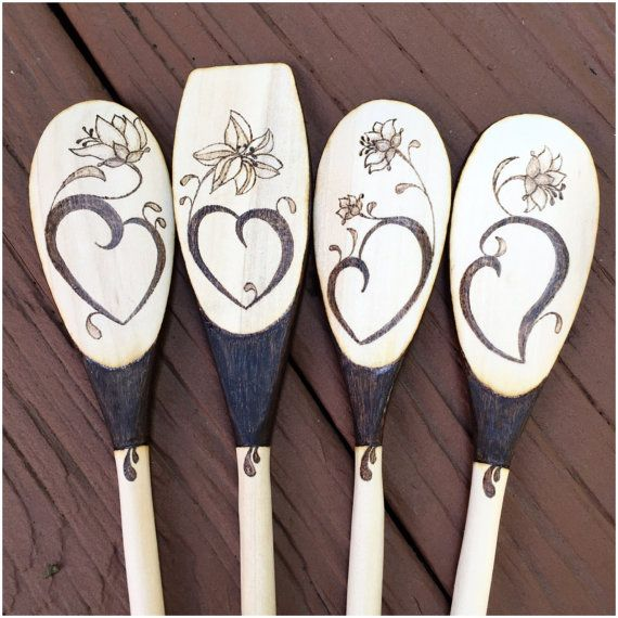 Wood Burned Spoons, Flowers and Hearts, Lilies, Floral, Love, Wedding gift, Housewarming, Anniversary, READY TO SHIP, set of 4