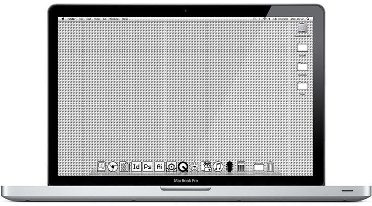 Old-school Mac OS'84 wallpaper and theme by Ben Vessey
