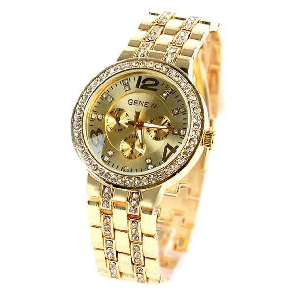 Poze Ceas Geneva, de dama, cu cristale pe carcasa si bratara - auriu