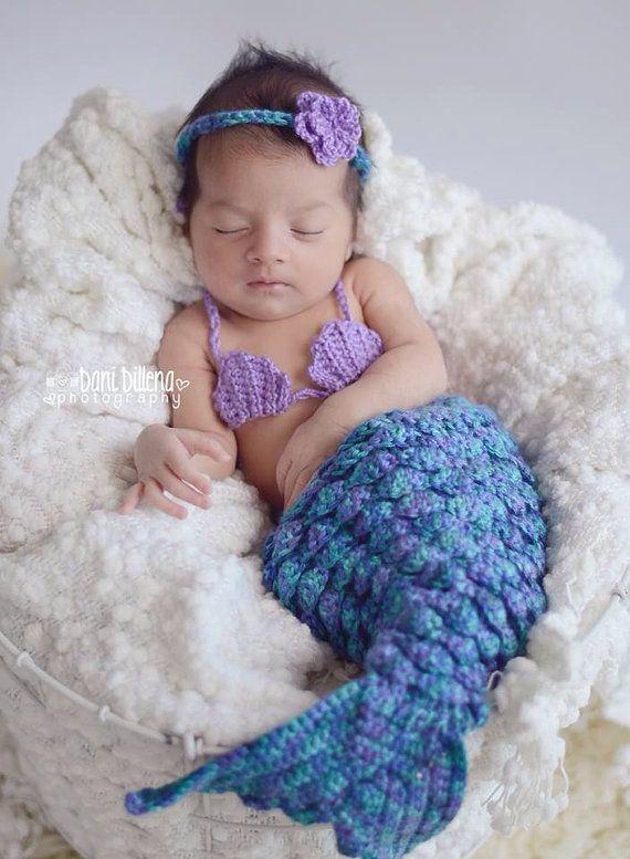 Made to Order Crochet Newborn Mermaid Costume by zaydascloset