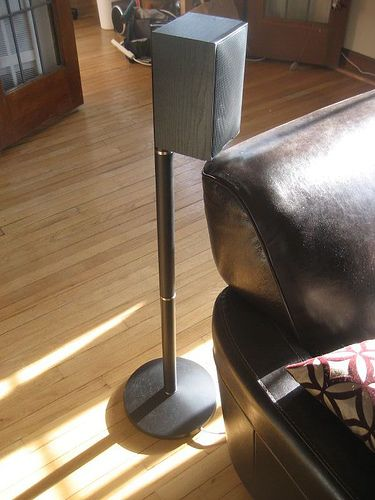 Speaker stand made from floor lamp