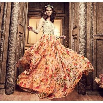 Chiffon Hand Work Multicolour Floral Print Unstitched Long Anarkali Suit - H3705