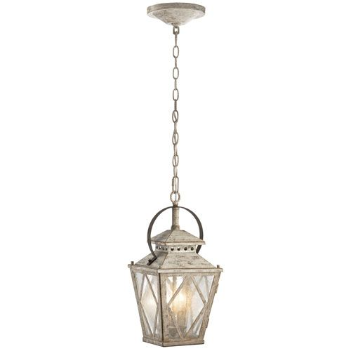 Hayman Bay Two Light Distressed Antique White Interior Lantern Pendant Kichler Pen