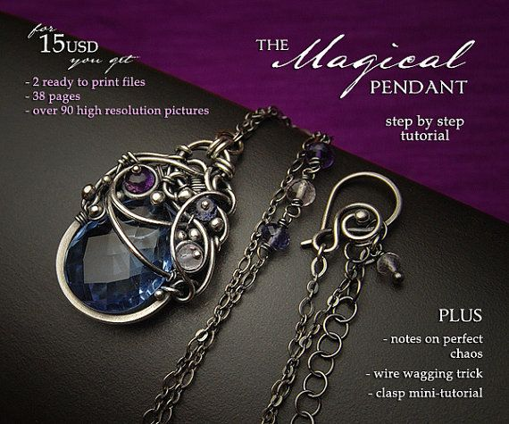 NEW The Magical Pendant Tutorial by Iza Malczyk available on Etsy, step by step wire wrapping pendant project.
