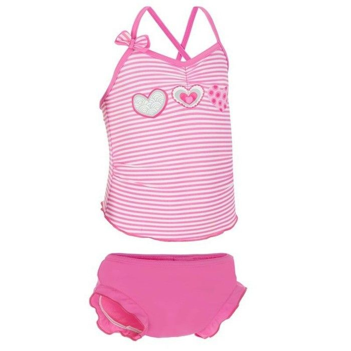 maillot de bain fille Decathlon 0-2 ans bebes aux rayures roses et aux petits…