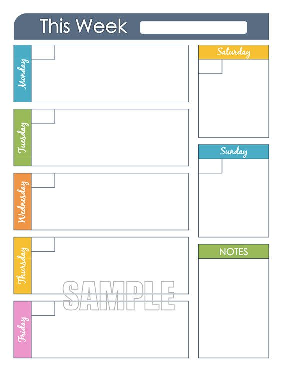 Weekly planner printable editable organizing planner for Day at a glance calendar template