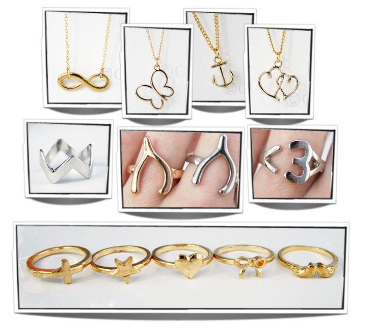 Infinity, dubbele hartjes, vlinder en anker Kettingen €3,95 p.s Wishbone, /\/\ hoekjes en <3 emoticon ringen €3,50 p.s Snor, hartje, ster, strikje en kruisjes ringen €2,50 p.s