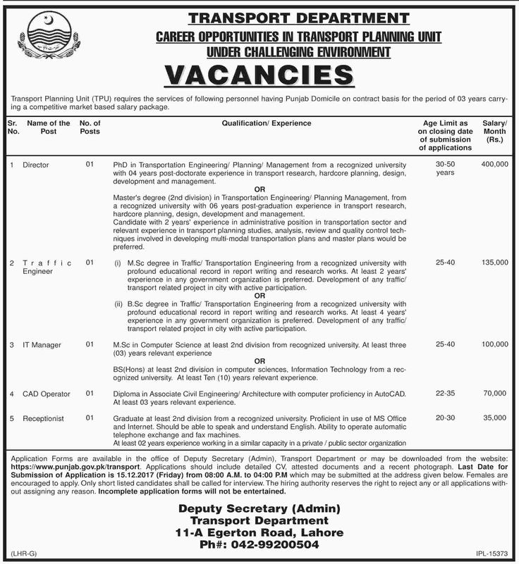 Transport Department Jobs 2017 In Lahore For Director, Manager And Receptionist http://www.jobsfanda.com/transport-department-jobs-2017-in-lahore-for-director-manager-and-receptionist/