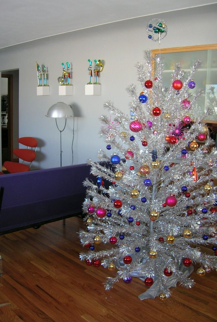 Silver tinsel christmas tree with color wheel - I Will Stop When I Get A Retro Silver Pom Tree And A Color Wheel Christmas