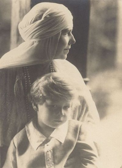 Michael I of Romania and his paternal grandmother, Queen Marie of Romania, 1926