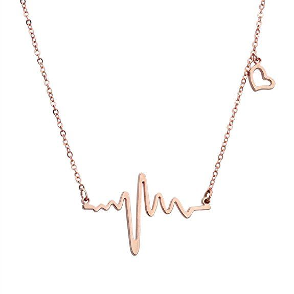 ELBLUVF 18k Rose Gold Plated Stainless-steel Heart Beat Love Cardiogram Necklace