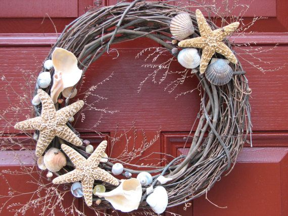 Summertime Front Door - Shell wreath Seashell Wreath by OceanStInspiration on Etsy, $36.00