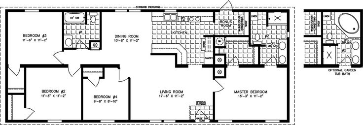Manufactured Home Floor Plan: The Imperial • Model IMP-46021A  4 Bedrooms, 2 Baths