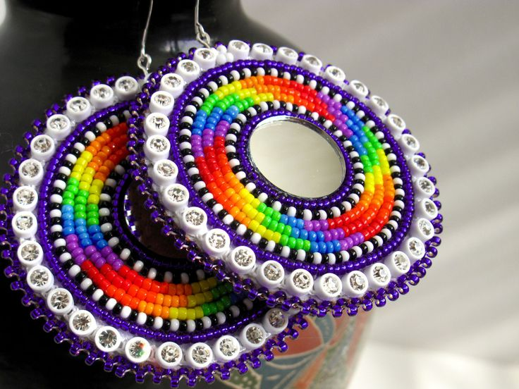 Rainbow Spiral Round beaded earrings, Blueroseredeye (Seneca) http://blueroseredeye.bigcartel.com