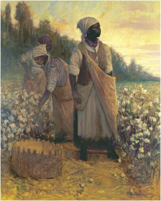 """Carolina Cotton Fields"" oil/canvas John Carroll Doyle, American Impressionist - Charleston Artist. painted on a grand scale, shows a long overdue indebtedness to the African Americans who toiled in southern landscapes into the 2oth century, picking cotton.The painting depicts 3 field laborers beginning their day at sunrise. The central dominating figure stands up right and stead fast as she looks to the morning sky with noble determination, as if to say,""A New Day Is Coming"""