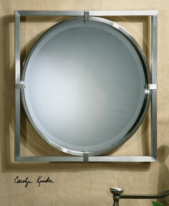 uttermost b kagami brushed nickel mirror this mirror features a metal frame with a brushed nickel finish mirror has a generous 1 bevel - Brushed Nickel Mirror