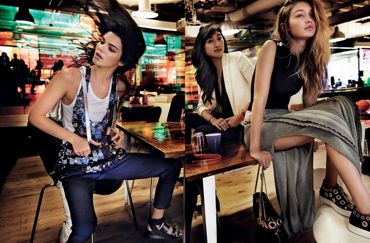 "#werk - Jenner (left) and Gigi Hadid (right) in Yahoo's San Francisco office with Polyvore CEO Jess Lee (center). Jenner wears a Carolina Herrera embroidered vest, $1,990; Carolina Herrera, NYC. Bebe tank top, $19; Bebe stores. Tory Sport track pants, $135; torysport.com. Loeffler Randall backpack. Louis Vuitton sandals.   #DIYBOSS Lee, an enthusiastic Polyvore user while working at Google, emailed the founder of Polyvore on a whim. ""I wrote one night with some complaints. He said, basica..."