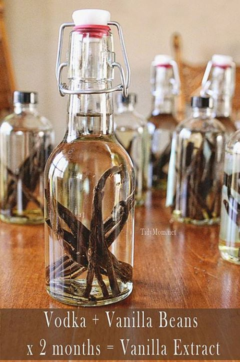 From Backyard Kitchen: Make your own Vanilla!  Using vanilla beans & vodka (or rum or Everclear).