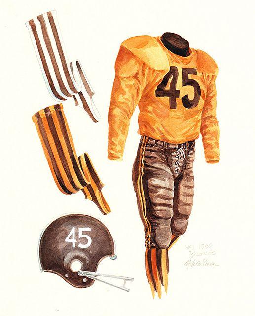 Denver Broncos 1960 uniform artwork by Scott Sillcox, via Flickr