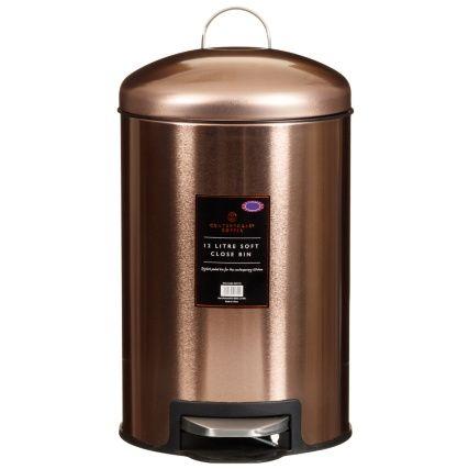 Soft Close Copper Bin.  A stylish pedal bin for the contemporary kitchen. Design: Copper. Size: 12L (Approx.) For general domestic waste - B&M Stores.
